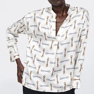 Zara chain gold print flowy slot collar blouse top